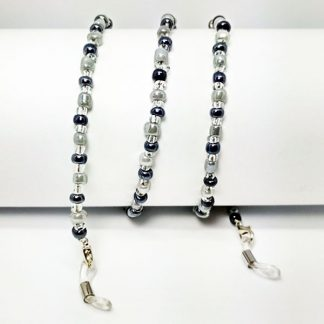 Black and ivory pearl retro eyeglass chain