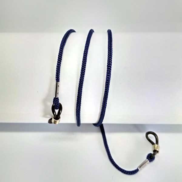 Cordon à lunettes bleu foncé en drisse tressée
