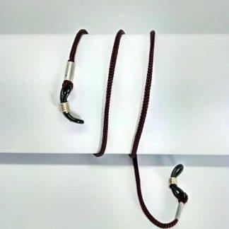 Cordon à lunettes marron en drisse tressée