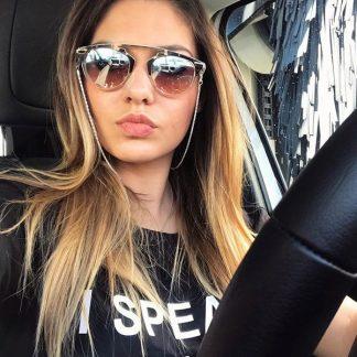 chainette argentée de lunettes