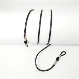 Cordon lunette en coton ciré noir