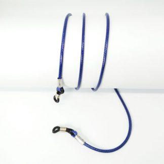Cordon pour lunette en coton ciré bleu foncé