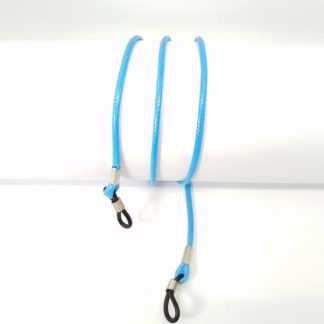 Cordon lunette en coton ciré bleu clair
