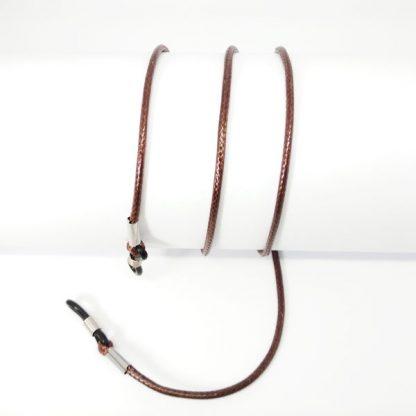Cordon à lunettes en coton ciré marron