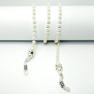 Chaine à lunettes rétro en perles blanches