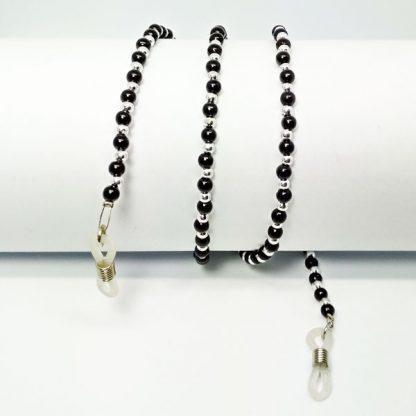 Chaine à lunettes rétro en perles noires