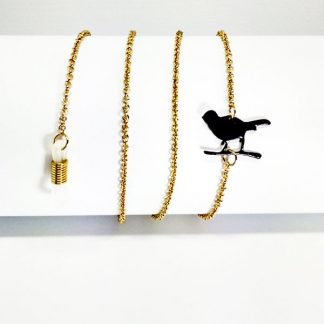Golden eyeglass chain with bird pendants
