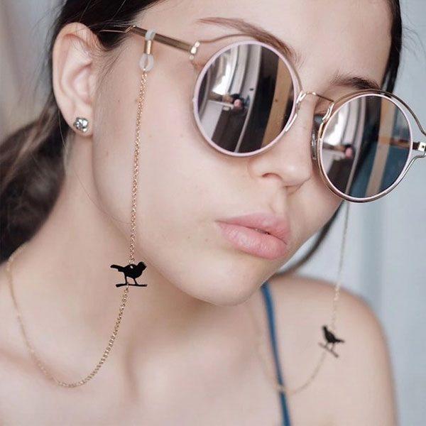 Chaine à lunettes vintage doré avec pendentifs oiseaux