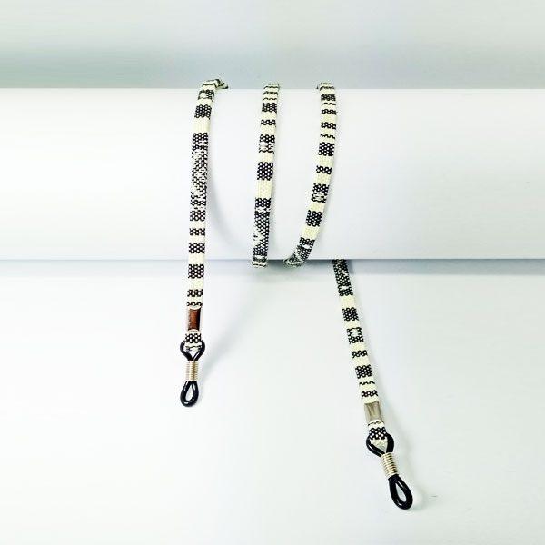 Cordon à lunettes plat en coton imprimé gris et blanc