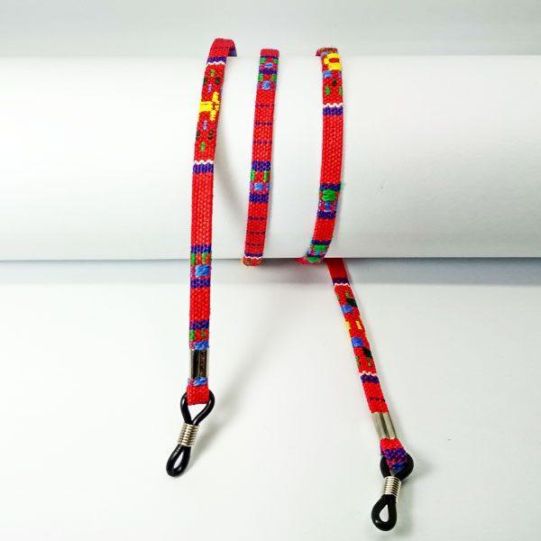 Cordon à lunettes plat en coton imprimé rouge
