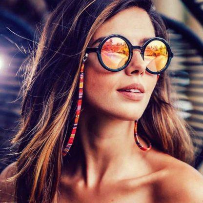 Cordon à lunettes plat en coton imprimé rouge avec lunettes de soleil
