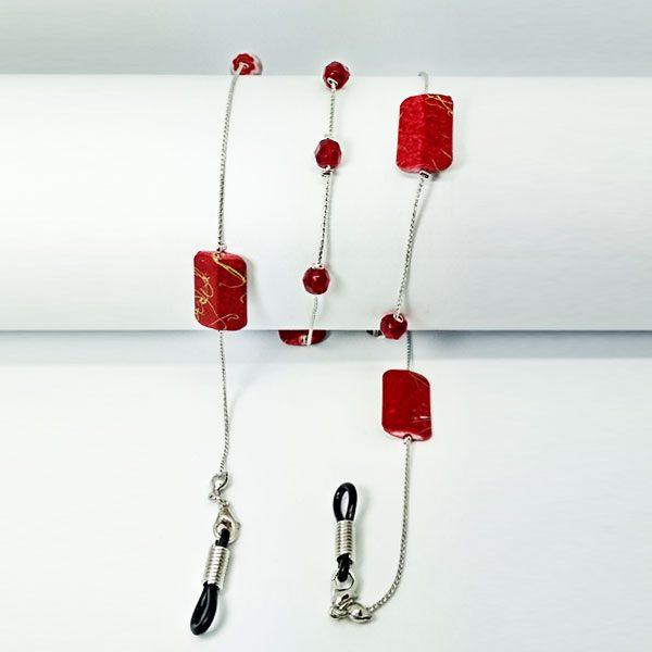 Chaine à lunettes en perles carrées bordeaux