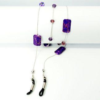 Chaine à lunettes en perles carrées violettes