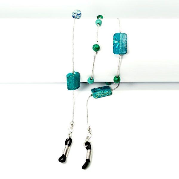 Chaine à lunettes en perles carrées turquoises