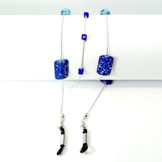 Blue Square beaded glasses chain