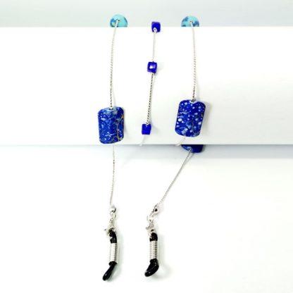Chaine à lunettes en perles carrées bleues