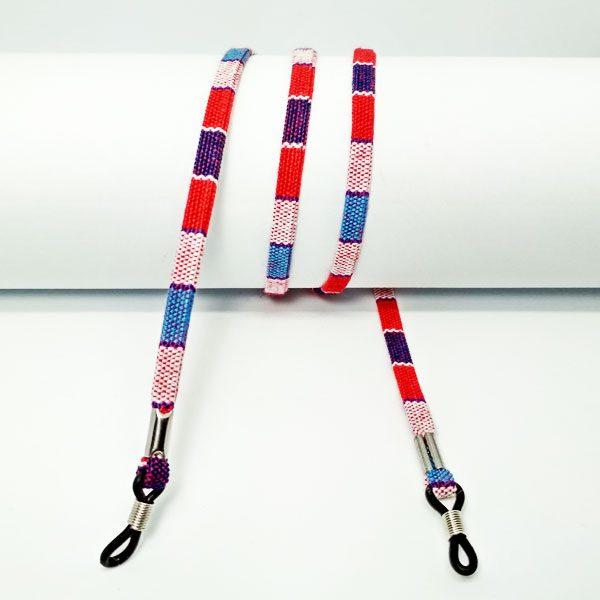 Cordon à lunettes plat en coton imprimé frenchy