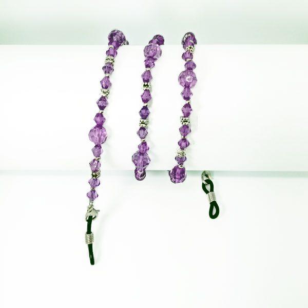 Chaine à lunettes en perles couleur améthyste