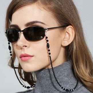 chaine lunette en perles noires