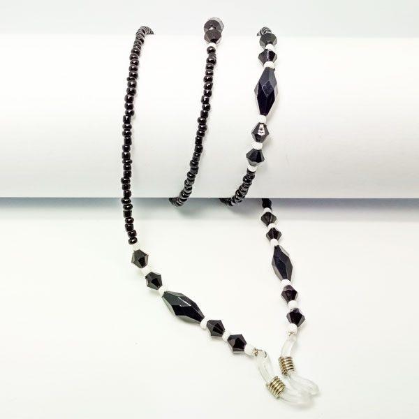 Chaine à lunettes rétro en perles noires et blanches