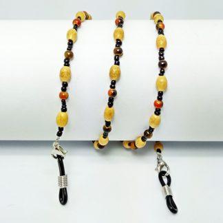 chaine lunette en perles bois