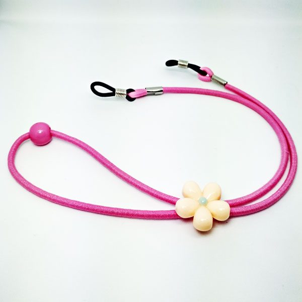 Cordon à lunettes Enfant Fleurs élastique rose