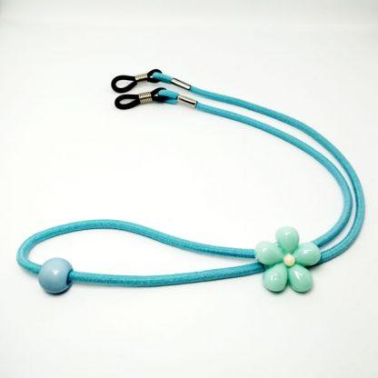 Cordon à lunettes Enfant Fleurs élastique bleu clair