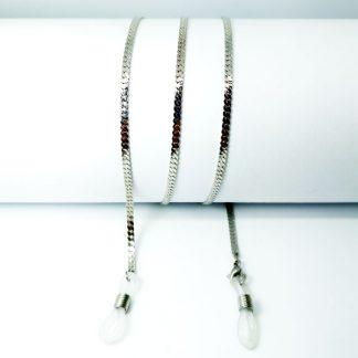 Chaine à lunettes Mailles plates en métal argenté
