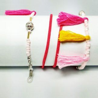 Chaine à lunettes Pompon Flamant rose