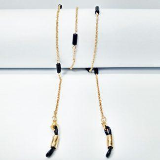 Chaine à lunettes dorée aux perles noires de jais