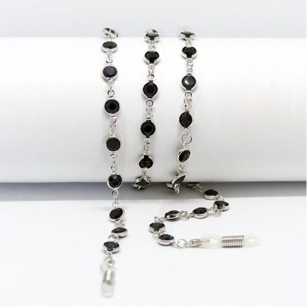 Chaine à lunettes argentée aux perles noires de jais
