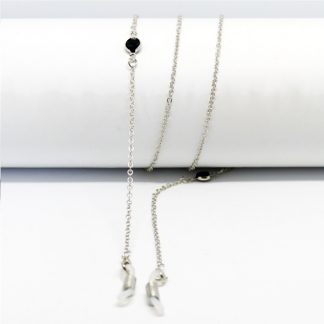 Silver glasses chain with two black Jet beads