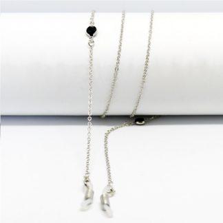 Chaine à lunettes argentée aux deux perles noires de jais