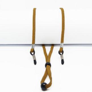 Cordon à lunettes couleur café réglable en suédine