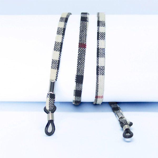 Cordon à lunettes plat en coton imprimé Scottish Tartan