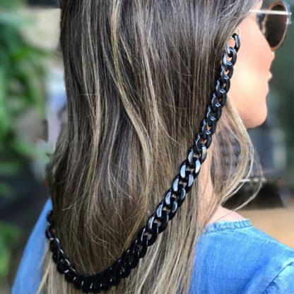 Chaine à lunettes noire en grosses mailles acrylique