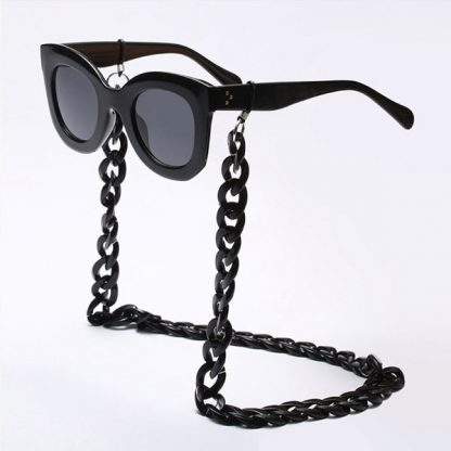 Chaine à lunettes noire en perles en acrylique