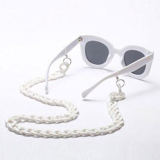 Chaine à lunettes blanche en grosses mailles