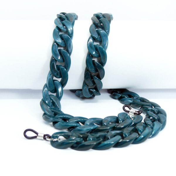 Chaine à lunettes turquoise en grosses mailles
