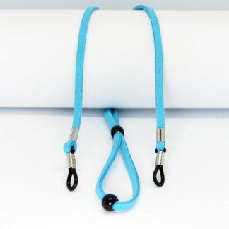 Cordon à lunettes turquoise réglable en suédine