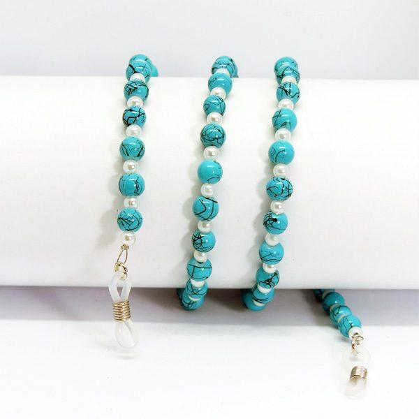 Chaine à lunettes en perles turquoises et blanches nacrées