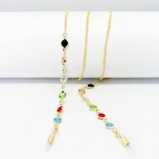 Isis gold eyeglass chain with multicolored pearls
