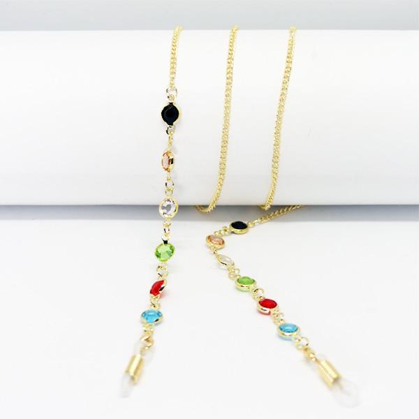 Chaine à lunettes dorée Isis aux perles multicolores