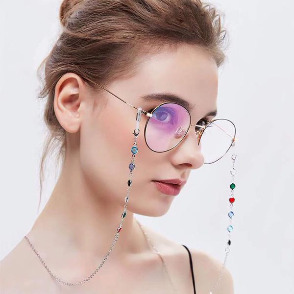 Chaine à lunettes argentée Isis aux perles multicolores