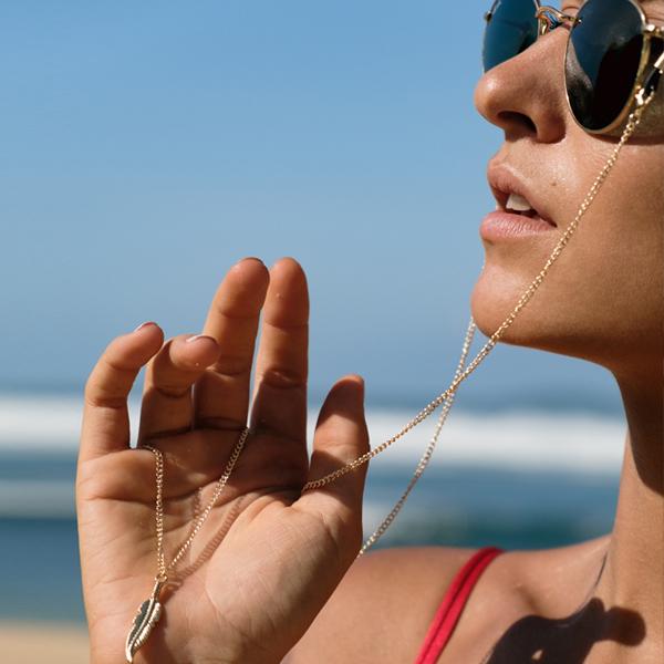 Chaine à lunettes Plume d'ange dorée