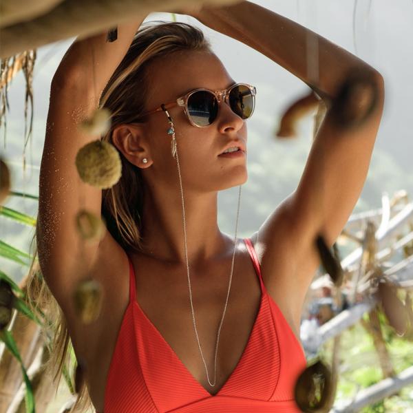 Chaine à lunettes Plumes et perles turquoises