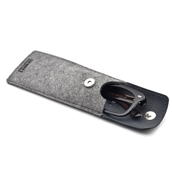 Graues Brillenetui Oslo aus Leder und Filzstoff