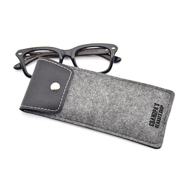 Etui à lunettes Oslo gris en cuir et tissu feutré