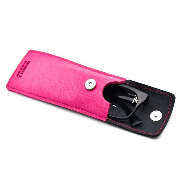 Etui à lunettes Oslo rose en cuir et tissu feutré