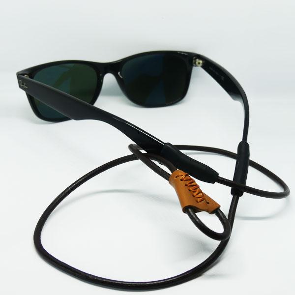 Cordon à lunettes Margerite brun en cuir naturel